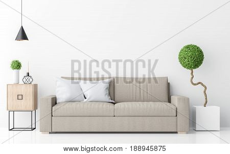 Modern white living room interior minimalist style image 3d rendering .There are light brown sofawhite wall and sphere form tree