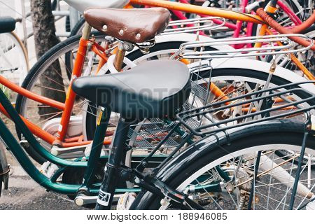 Bicycle Parked On Street City Road