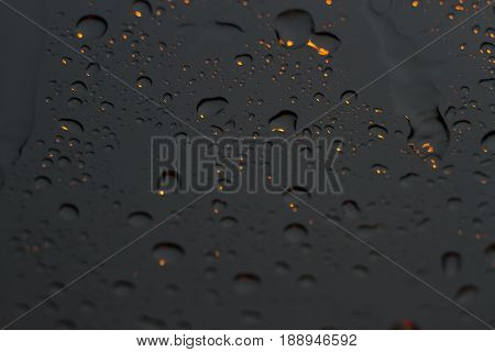 raindrops on car glass in the raining day rain stain