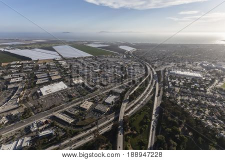 Aerial view of Ventura 101 Freeway at Route 126 in Southern California