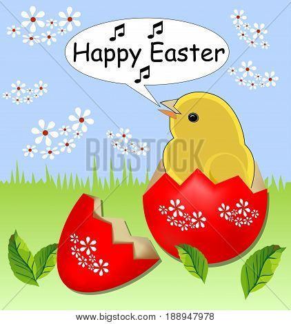 Cheerful Spring Easter Theme With Cute Yellow Chicken Sitting In Painted Shell Egg In Grass With Whi