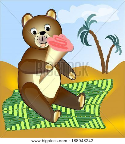 Teddy bear eating ice cream on green blanket. A image for children or advertising sales of ice cream