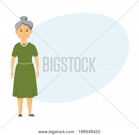 Sad old woman stands. unhappy elderly woman.