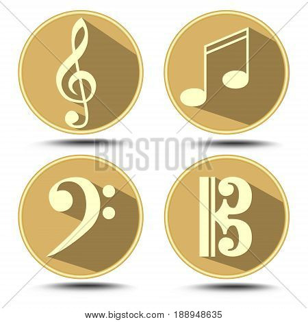 Set of music symbol in circle with long shadow. Treble clef bass clef music note