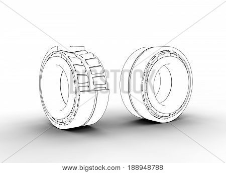3D illustration of tapered roller bearing isolated on white and metallic poster