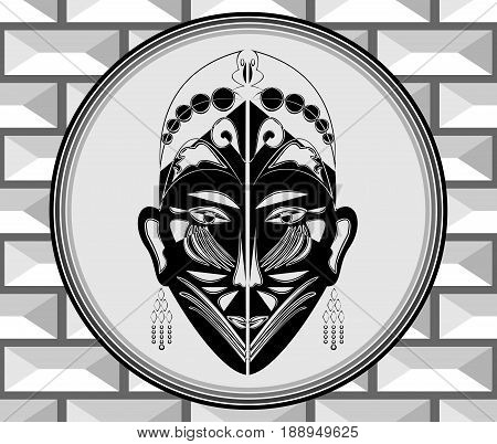 Art deco style ornament with ritual mask grayscale image