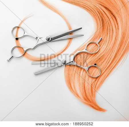Trendy hairstyle ideas. Apricot color hair and scissors on white background