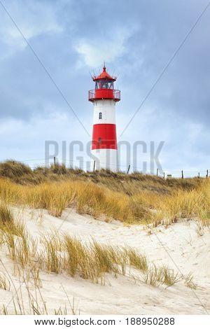 Lighthouse in the east of Ellenbogen peninsula, Sylt, Germany