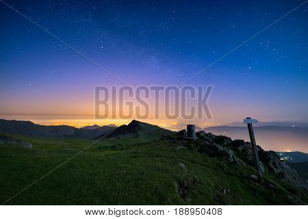 The Wonderful Starry Sky Over Torino (turin, Italy) From The Majestic Mountain Range Of The Italian