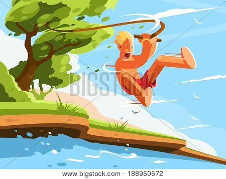 Guy jumps into water with swing on tree. Vector illustration