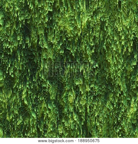 Seamless texture hanging down worn-out ripped rags green cloth or paper. Pattern of seaweed or moss