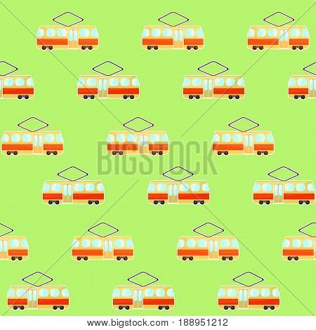 Cute colorful tram pattern beige and red streetcar on green background