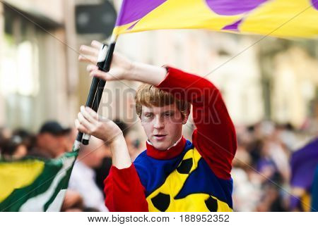 Asti, Italy - September 19, 2010: the historic Medieval parade of the Palio of Asti in Piedmont, Italy. Street performers in medieval costumes parading in the Palio of Asti.