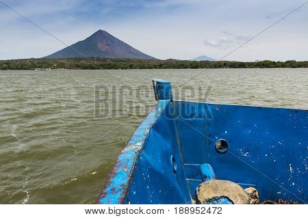 Deteail of the bow of a ferry boat with the Ometepe Island on the background in Nicaragua; Concept for travel in Nicaragua and Central America