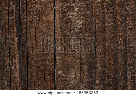 Dark vertical boards made of wood. Natural dark wood color real texture and patterns of wood
