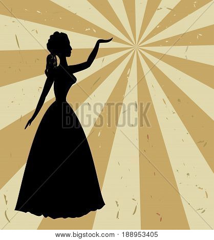 Vintage retro background with black woman silhouette in thirties style