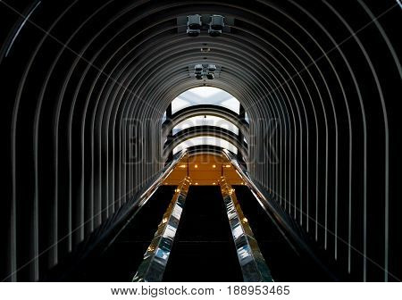 architecture with tunnel steel pattern for background .