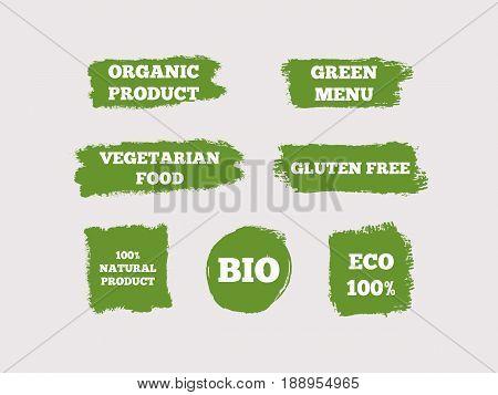 Organic Product Green Menu Vegetarian Food Gluten Free 100% Natural Bio Eco. Set of green logos. Seven isolated stickers. Sketch grunge graffiti. Vector illustration.