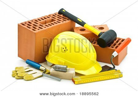 mason tools on white background