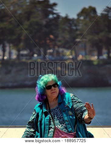 APRIL 29, 2017. SANTA CRUZ, CA. CIRCA: Mature hippie female attending the International Jazz Day Music Festival in Santa Cruz, Ca,