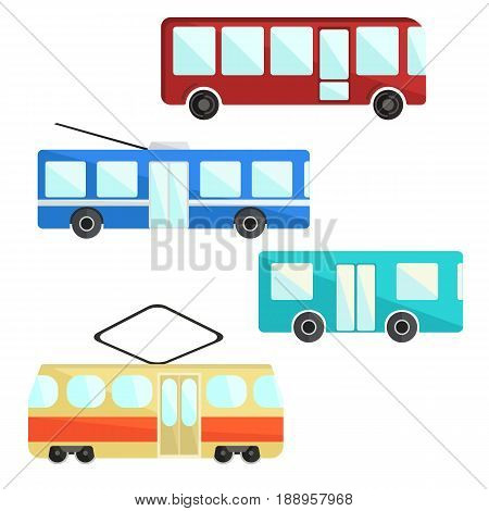 City public transport set. colorful bus trolley and tram icons