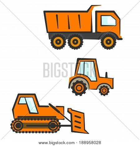 Flat orange industrial transport set. Dozer tractor and dumper