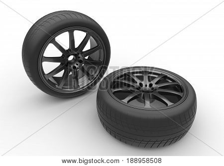 3d illustration of car rims with tyres