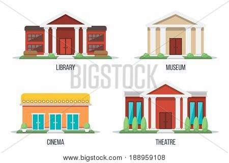 Vector illustration of different types of cultural buildings: library museum cinema theatre. Isolated on white background. Flat design style. Eps 10.