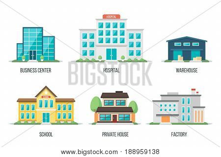 Vector illustration of different city buildings: business center hospital warehouse school private house factory. Isolated on white background. Flat design style. Eps 10.