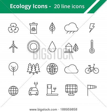 Set of ecology icons. Line weather icons for web and mobile interfaces.