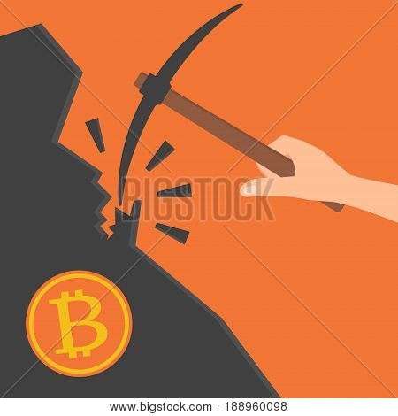Human hand hold a pickaxe and bitcoin mountain.Vector illustration Bitcoin mining concept.