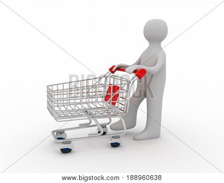 Man pushing a shopping cart empty . 3D rendered illustration