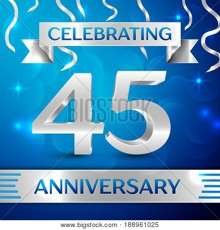Forty five Years Anniversary Celebration Design. Confetti and silver ribbon on blue background. Colorful Vector template elements for your birthday party. Anniversary ribbon