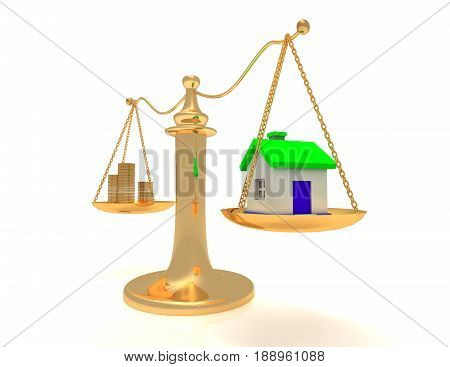 house and cash on scales. . 3D rendered illustration
