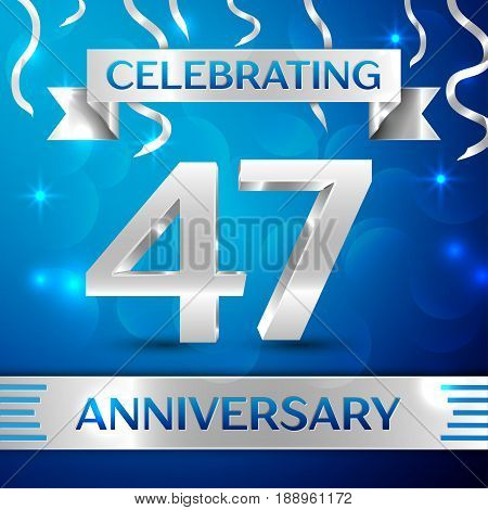 Forty seven Years Anniversary Celebration Design. Confetti and silver ribbon on blue background. Colorful Vector template elements for your birthday party. Anniversary ribbon