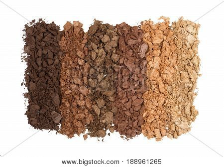 Set of crushed eye shadows isolated on white