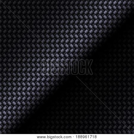 Carbon fiber composite texture bending material. Square format. Technology background. Vector illustration.