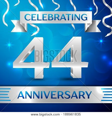 Forty four Years Anniversary Celebration Design. Confetti and silver ribbon on blue background. Colorful Vector template elements for your birthday party. Anniversary ribbon
