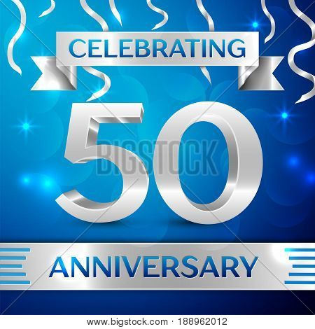 Fifty Years Anniversary Celebration Design. Confetti and silver ribbon on blue background. Colorful Vector template elements for your birthday party. Anniversary ribbon