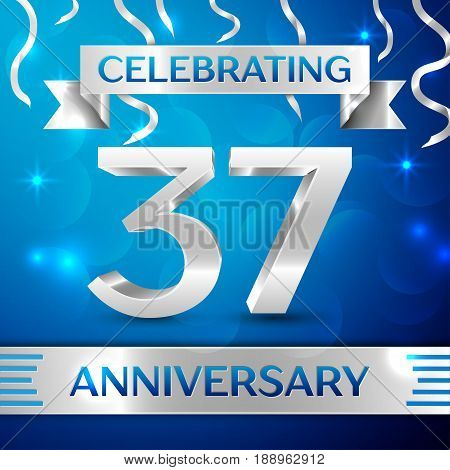 Thirty seven Years Anniversary Celebration Design. Confetti and silver ribbon on blue background. Colorful Vector template elements for your birthday party. Anniversary ribbon