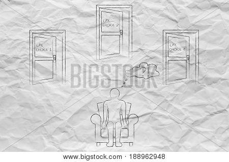 Man Choosing Among 3 Possible Life Choice Options (doors)