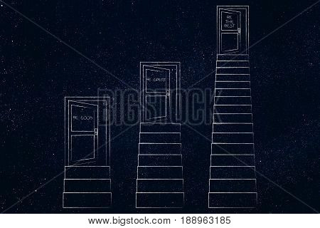 Doors Up Sets Of Stairs At Different Heights And Effort Levels, Success Metaphor