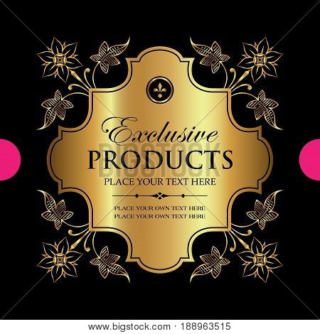 Luxury ornamental gold label - vector design