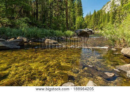 The Merced River in Yosemite Valley as it flows from the Sierra Nevada to the San Joaquin Valley.