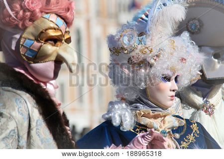 Venice carnival costume and mask in 2016.