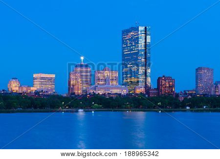 Boston skyline at dusk. Office buildings in Back Bay. Urban panorama in the evening. Massachusetts USA