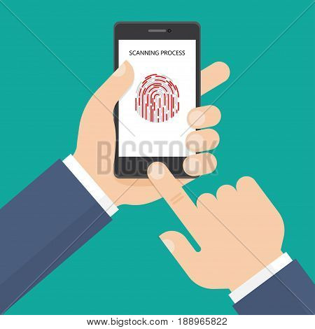 Scanning fingerprint by mobile phone in flat style. Vector illustration