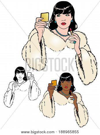Model adjusting her makeup.  Elegant formal attire with a cream champagne fur stole