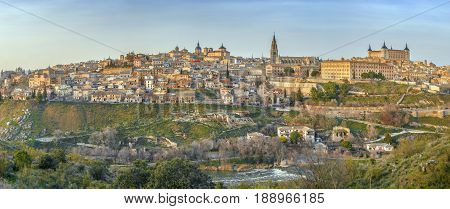 Panorama of Toledo from across the Tagus river Spain