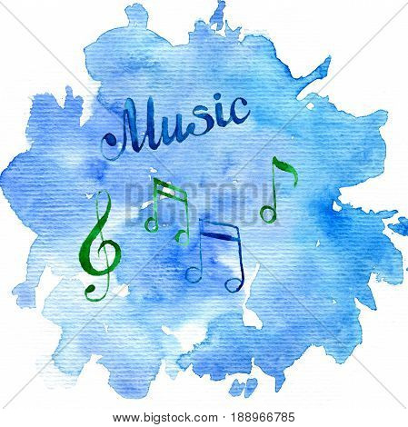 watercolor background with musical notes, hand drawn illustration